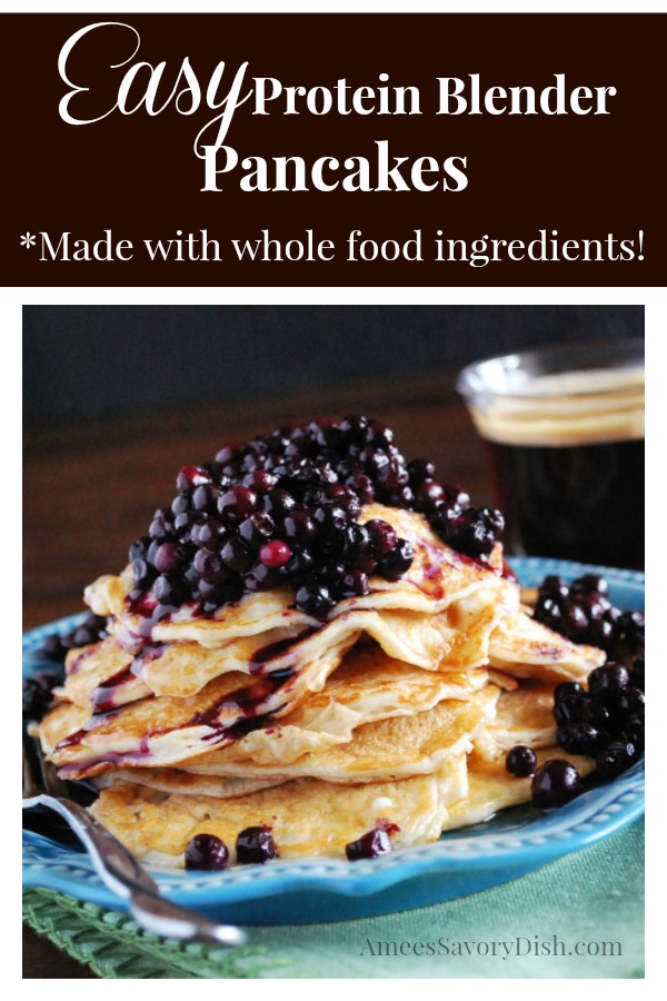 Easy Whole Food Protein Blender Pancakes are made with only four ingredients and perfect for your weekly meal prep!