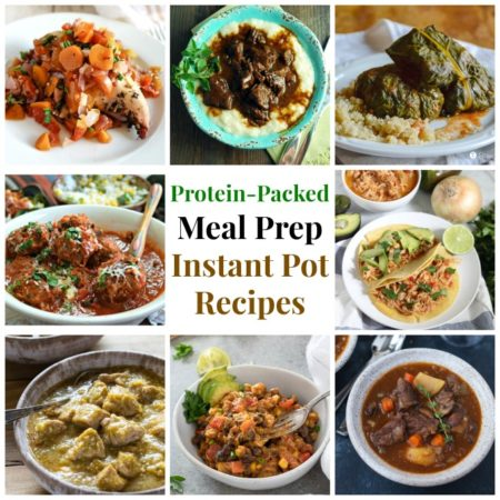 collage photo of meal prep instant pot recipes