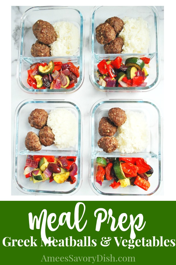 Meal Prep Sheet Pan Greek Meatballs with Vegetables is a delicious and easy meal prep recipe using lean ground beef.  It's a perfect make-ahead meal for your weekly meal prep!   via @Ameessavorydish
