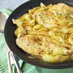 This deliciously easy Lemon Artichoke Chicken is made with thin chicken breast cutlets, marinated artichokes, fresh lemon juice and parsley.