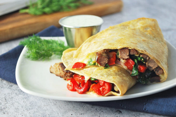 You get a blend of flavorful ingredients in this Mediterranean twist on a classic Mexican dish made with lean sirloin steak.  The best part is that you can whip up this steak quesadilla recipe in under 30 minutes!