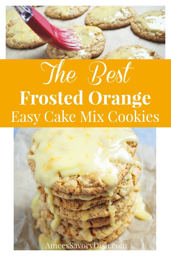 These Frosted Orange Easy Cake Mix Cookies are simple to make using a box cake mix, fresh squeezed orange juice and ground golden flaxseed. #cakemixcookies #bestcookierecipe via @Ameecooks