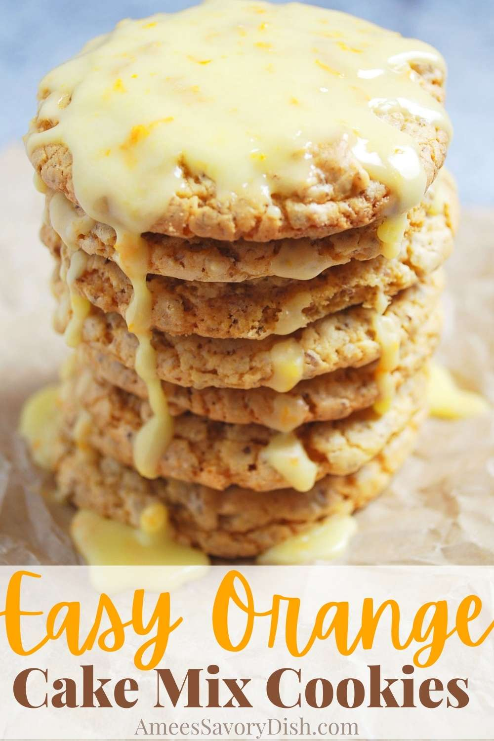 These Frosted Orange Easy Cake Mix Cookies are simple to make using a box cake mix, fresh squeezed orange juice and ground golden flaxseed.#cakemixcookies #bestcookierecipe via @Ameessavorydish