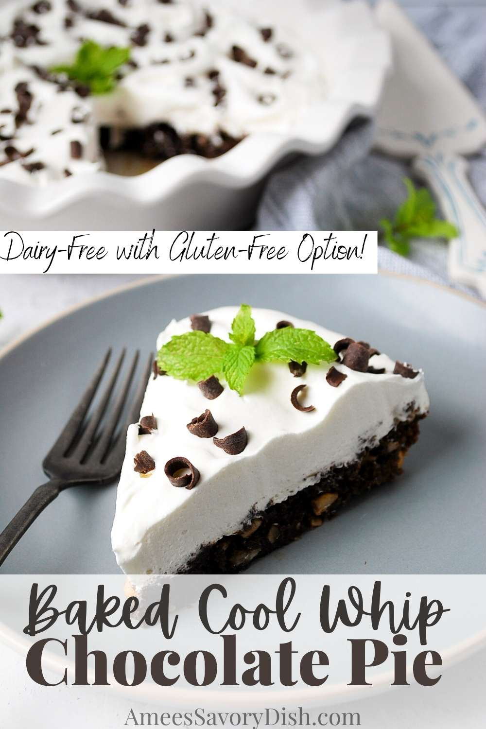 Lightened-up and refreshing, this Cool Whip chocolate pie is the perfect sweet summertime dessert! via @Ameessavorydish