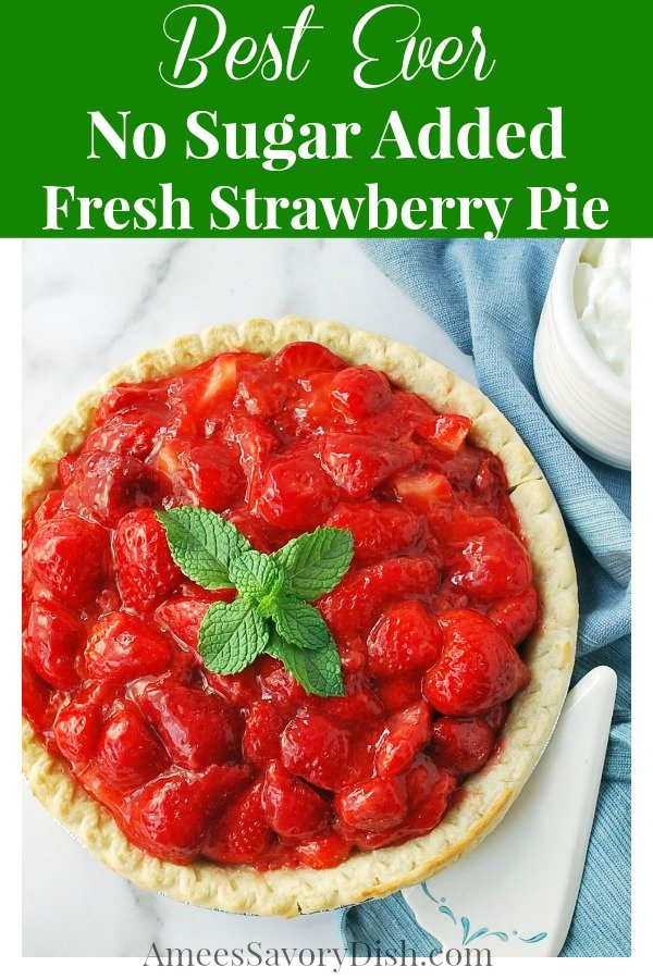 Strawberry pie with fresh mint on top with napkin and serving spatula