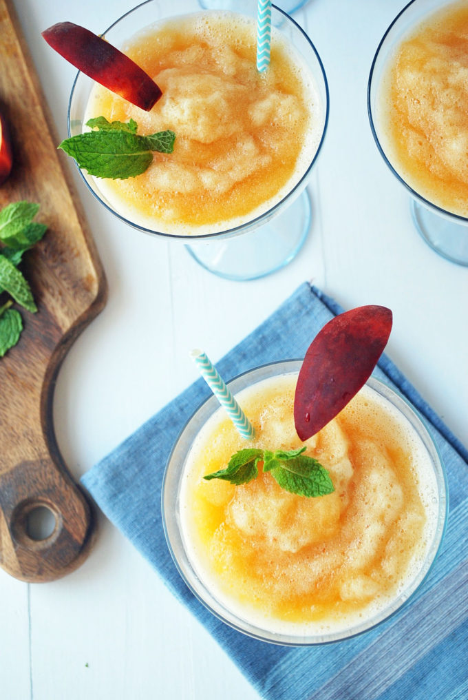 Summer peach Frosé is an easy and refreshing frozen summer cocktail made with Rosé wine