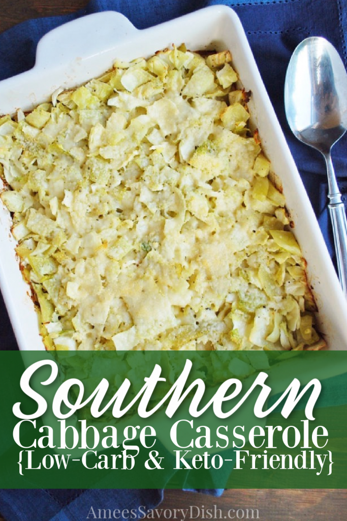 Cabbage Casserole in a dish with descriptive font overlay