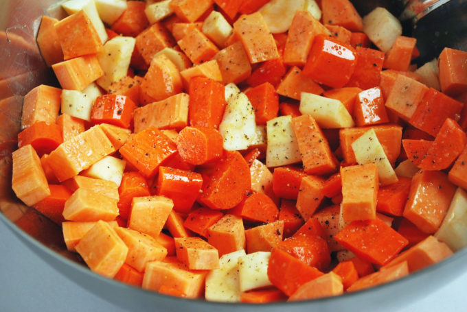 roasting root vegetables for the best roasted vegetable salad