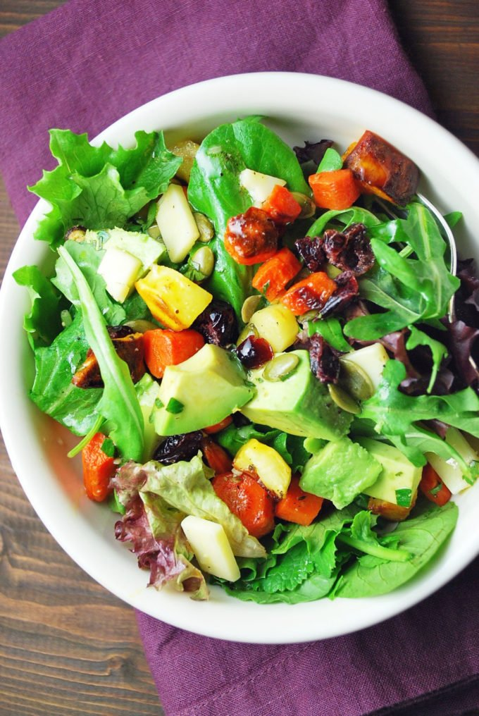 A bowl of the best roasted vegetable salad