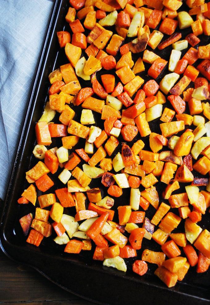 Warm roasted vegetables for roasted vegetable salad