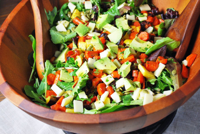 The best roasted vegetable salad made with roasted seasonal root vegetables