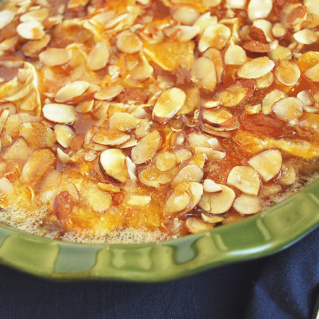 Baked Brie with apricot jam and almonds