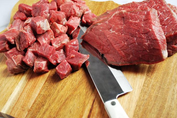 Bottom round roast sliced for Mediterranean Vegetable Beef Stew