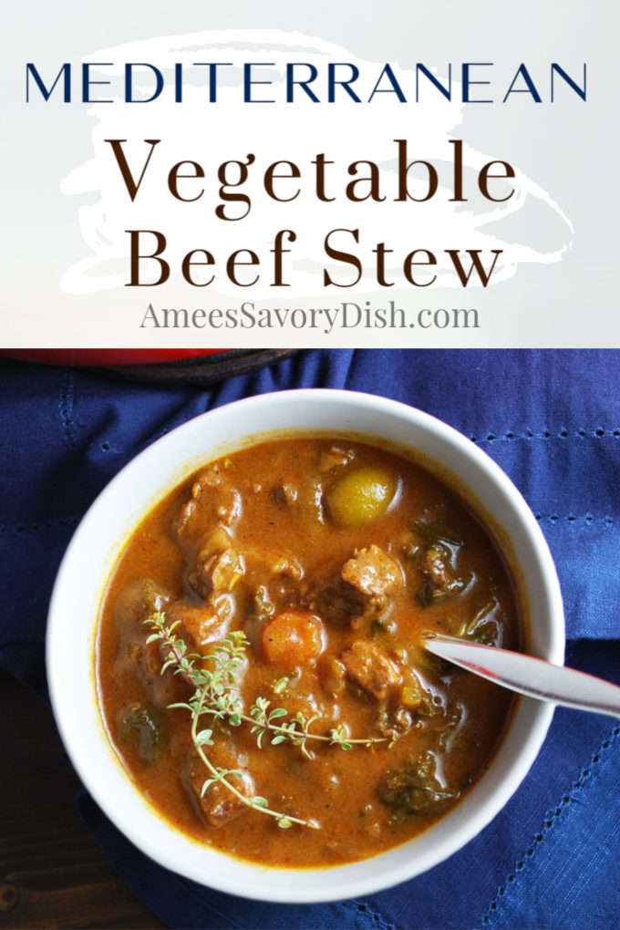 Pinterest image of a close up photo of a bowl of beef stew with fresh thyme and a text description