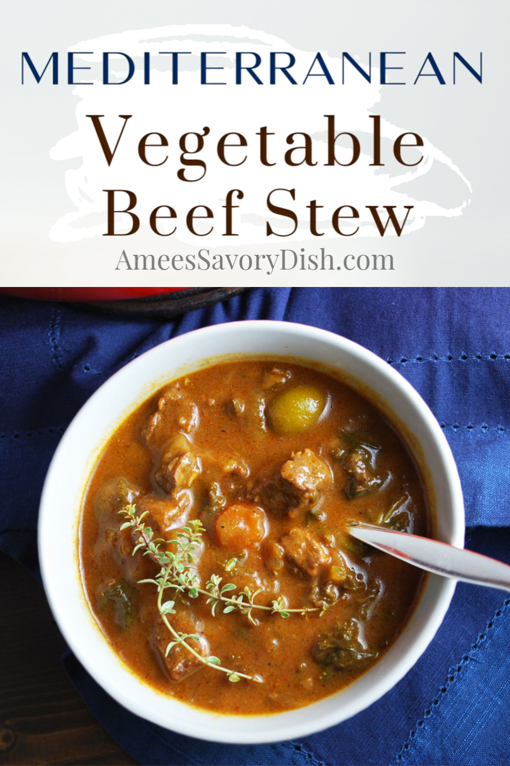 #Sponsored A Mediterranean-inspired recipe for a vegetable beef stew made with lean Beef Bottom Round Roast, beef broth, red wine, vegetables, olives, and fresh herbs.  This low-carb stew recipe is hearty and delicious!  via @Ameessavorydish