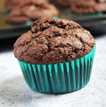 Double Chocolate Gluten-Free Bran Muffin in a blue wrapper