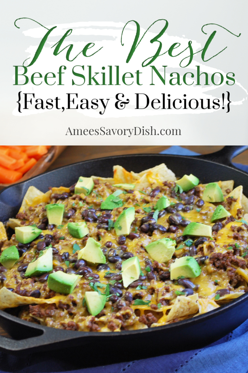 An easy and delicious oven-baked skillet nachos recipe made with tortilla chips, black beans, seasoned ground beef, and shredded cheese baked in a cast-iron skillet.  via @Ameecooks