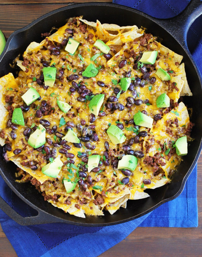 Easy skillet nachos recipe made with lean beef