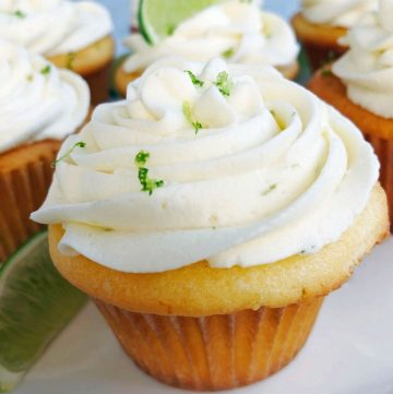 close up of a cupcakes with lime zest on top