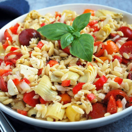 Mediterranean orzo pasta salad in a bowl