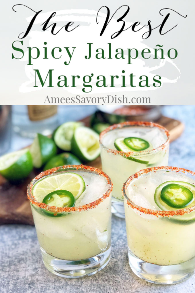 Pin image for Jalapeño margaritas with three margarita glasses and text description