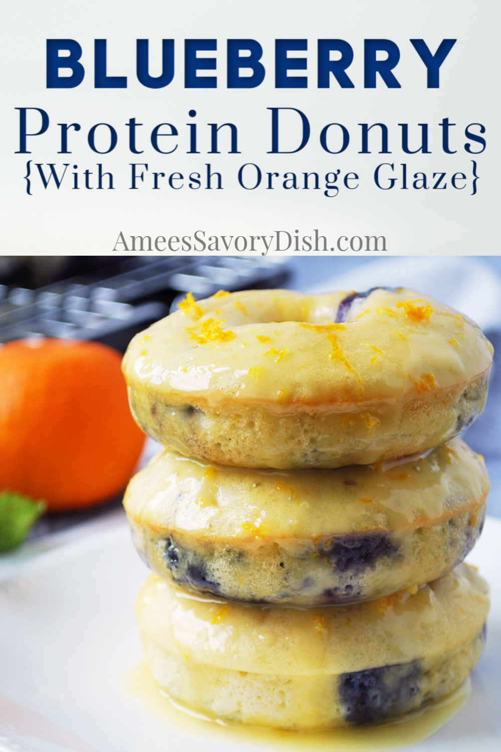 #Ad These delicious Blueberry Protein Donuts are gluten-free, full of flavor, and topped with a heavenly fresh orange glaze.  Easy and delicious! #proteindonuts #proteinrecipe #donuts #bakeddonuts #healthybaking #nakednutrition via @Ameecooks