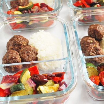 Greek meatballs with rice and roasted veggies in meal prep containers