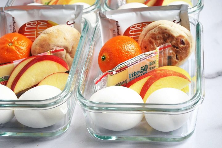 close up of a copycat Starbucks protein bistro box in glass containers