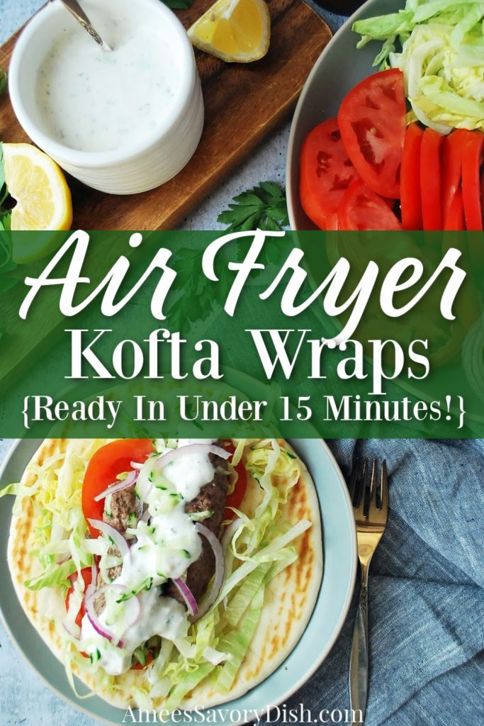 overhead shot of kofta wrap with all the fixings and font overlay