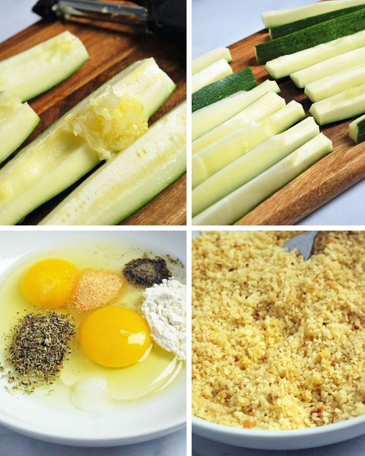 process steps for making zucchini fries; removing seeds, slicing zucchini, batter and breadcrumbs