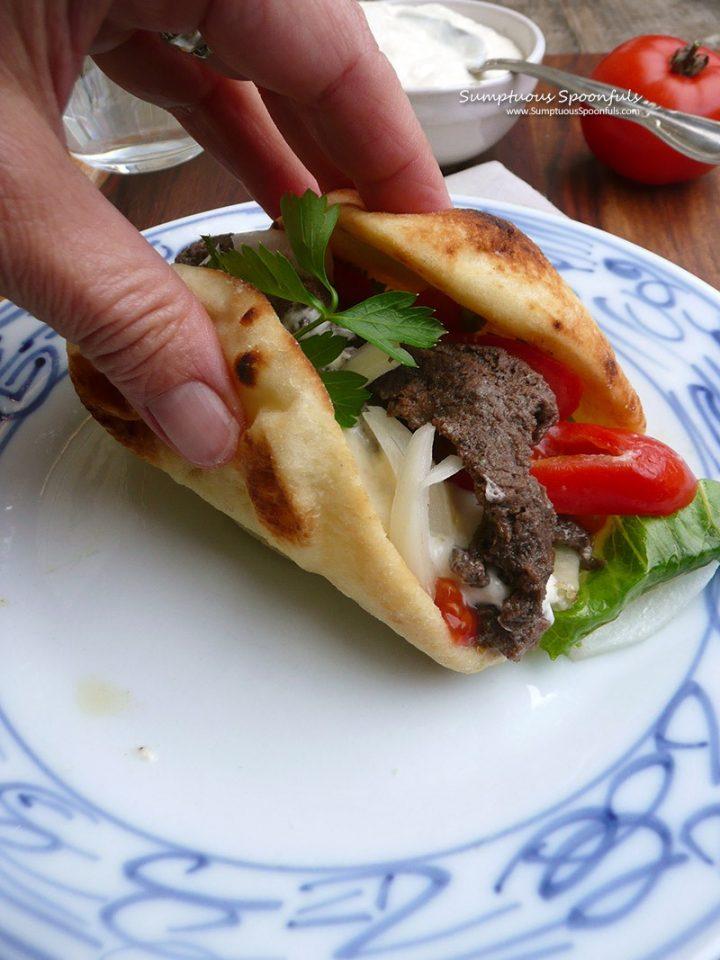 folded up pita with Venison shawarma, lettuce and tomatoes