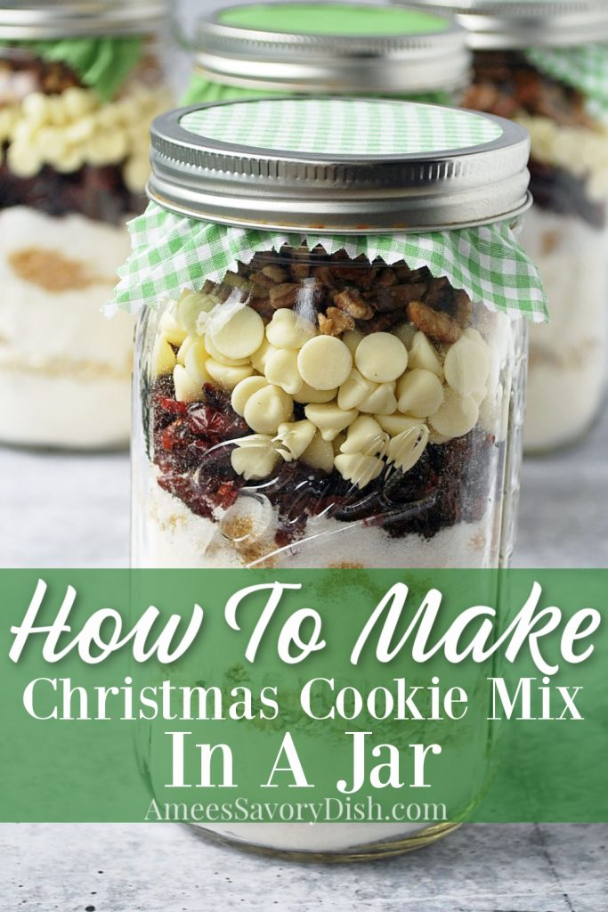 close up photo of cookie mix layered in a mason jar with decorative lid