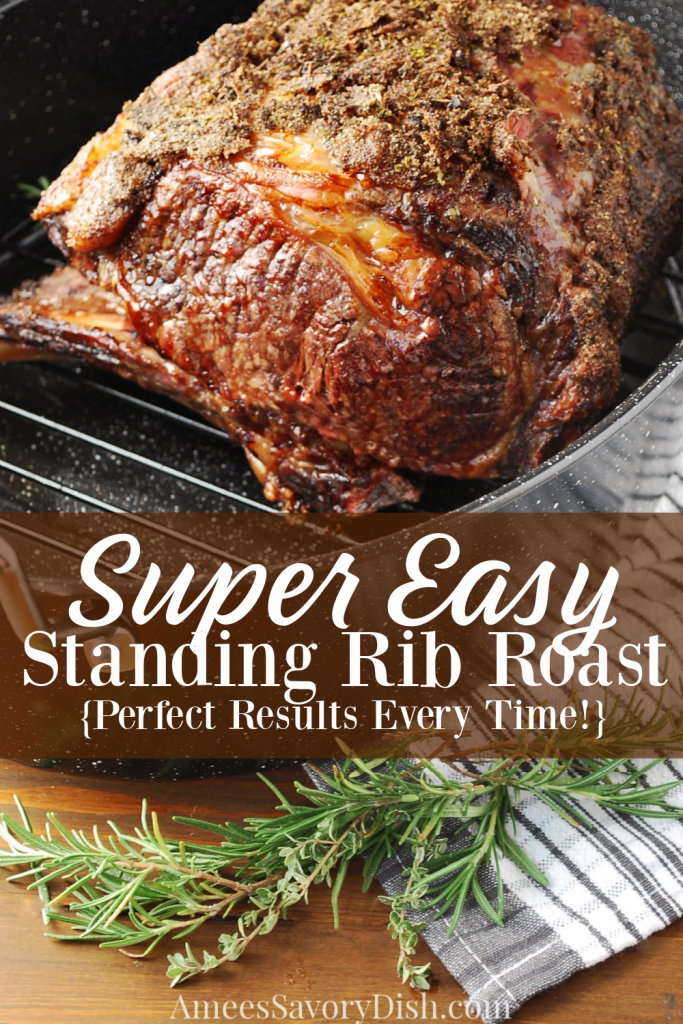 cooked standing rib roast in a pan with description for Pinterest