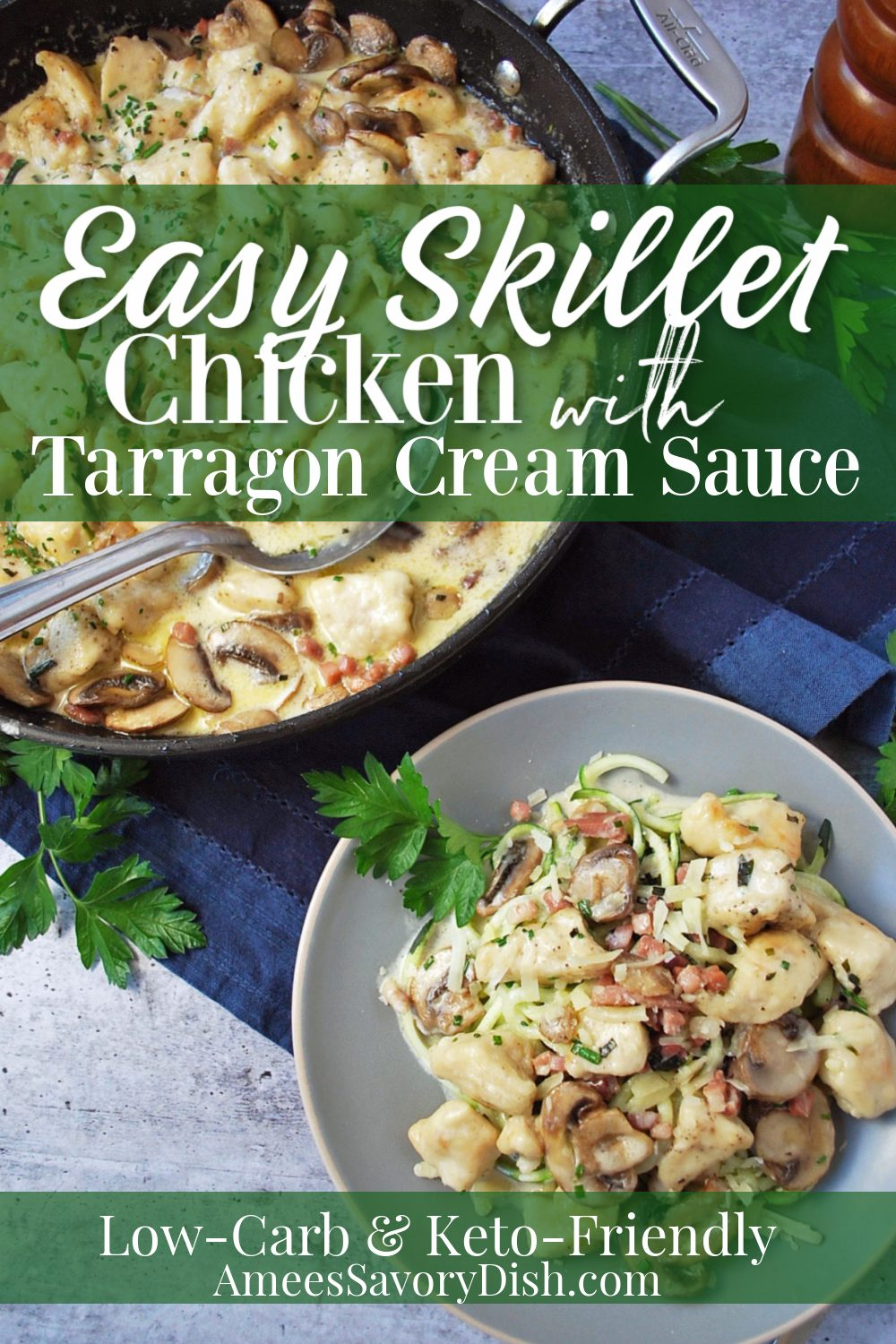 This low-carb and keto diet-friendly skillet Tarragon chicken recipe is made with boneless skinless chicken breasts, prosciutto ham, mushrooms, dry white wine (or chicken broth), cream, and fresh herbs.  Best of all this skillet chicken recipe is easy to make and ready in 30 minutes! #skilletmeals #skilletchicken #ketorecipe #ketodiet #lowcarb #lowcarbchicken #easychickenrecipes via @Ameessavorydish