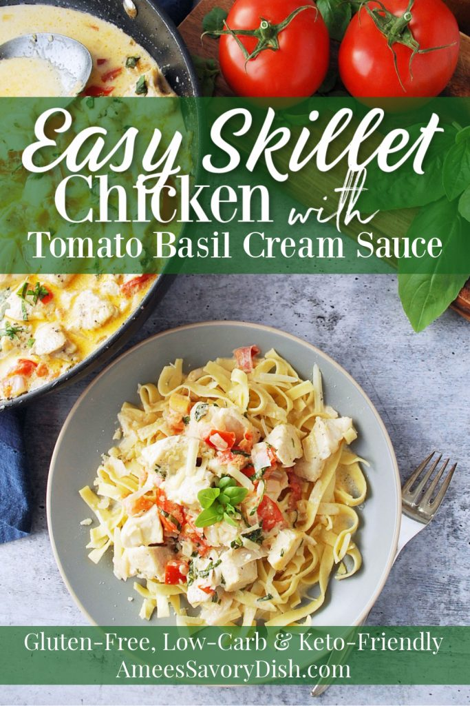 photo of chicken in tomato basil cream sauce over low carb pasta with description for Pinterest