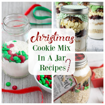 collage of cookie mix in a jar recipes with description for social media