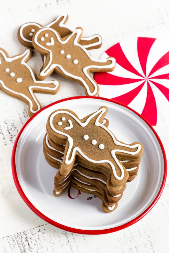 stacked gingerbread men on a plate