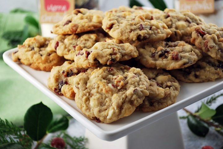 white chocolate cranberry oatmeal cookies on a serving platter