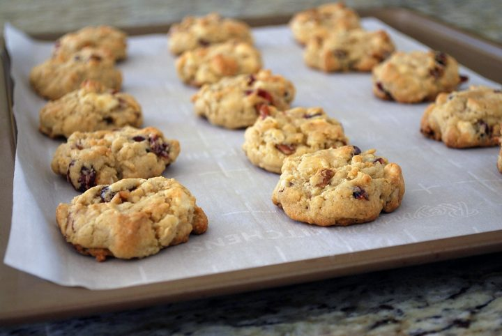 freshly baked cranberry oatmeal cookies