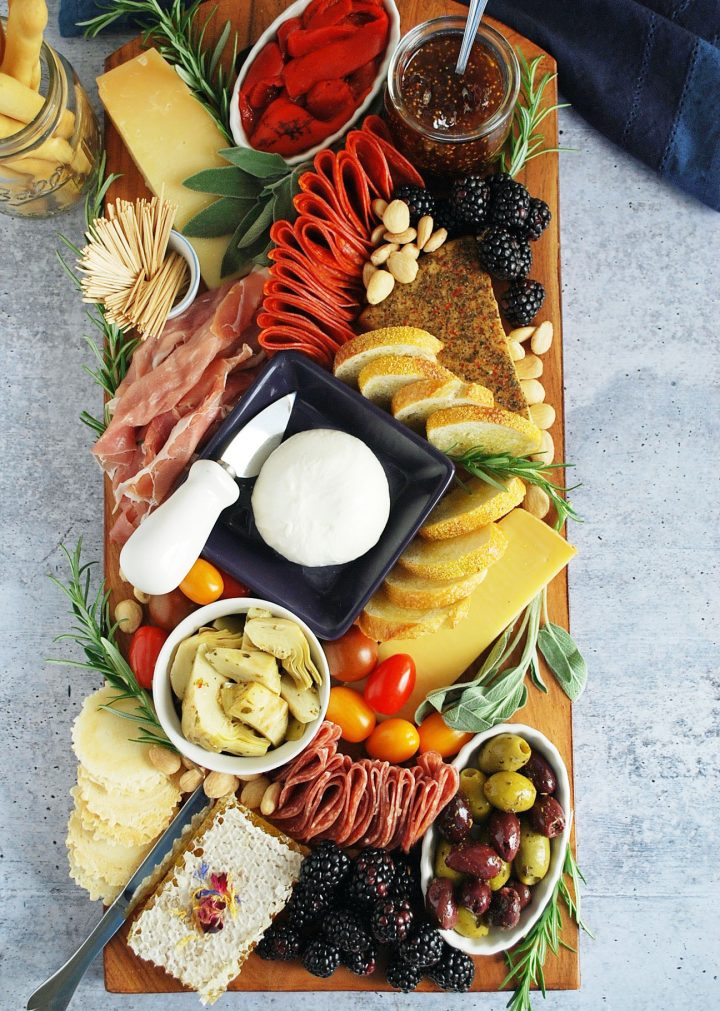 overhead photo of finished charcuterie board