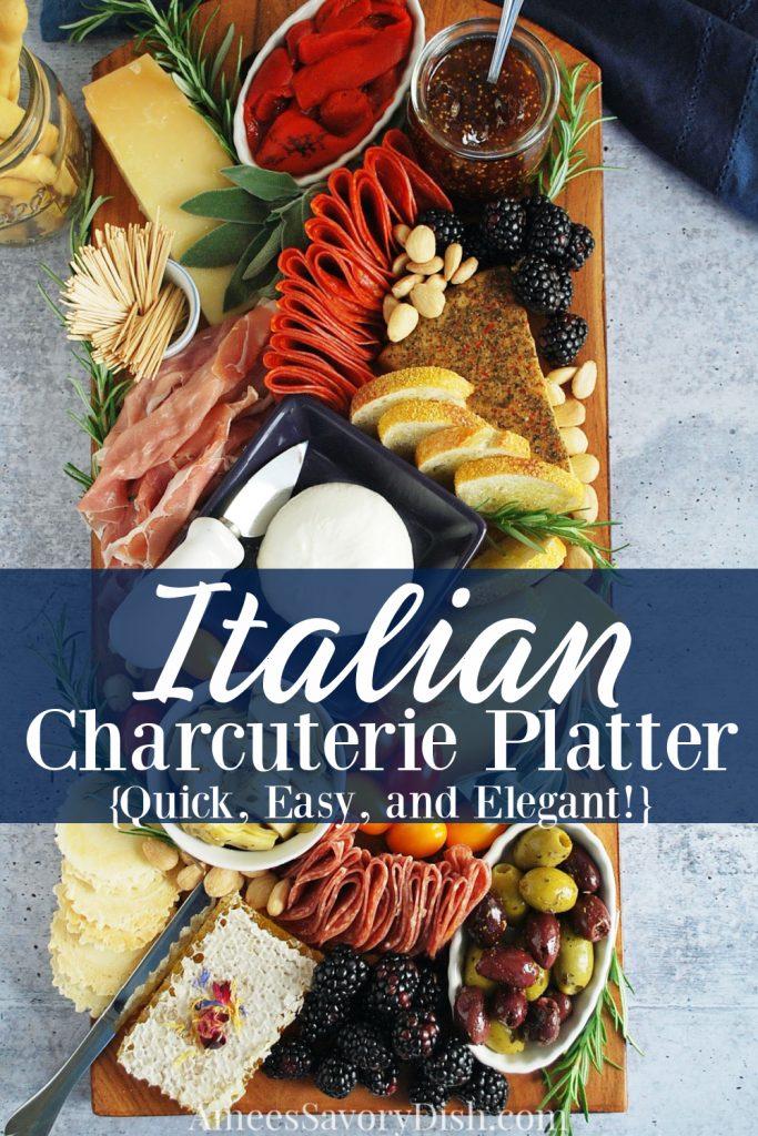 overhead shot of Italian charcuterie platter with description overlay for Pinterest