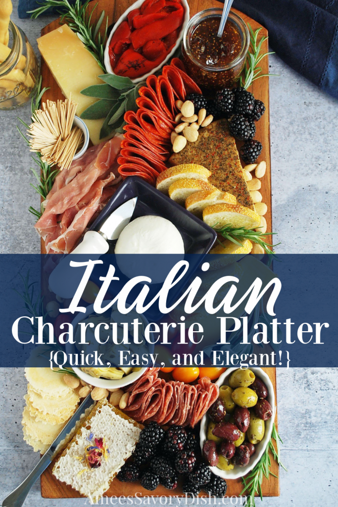 overhead shot of Italian charcuterie platter with description overlay for Pinterest