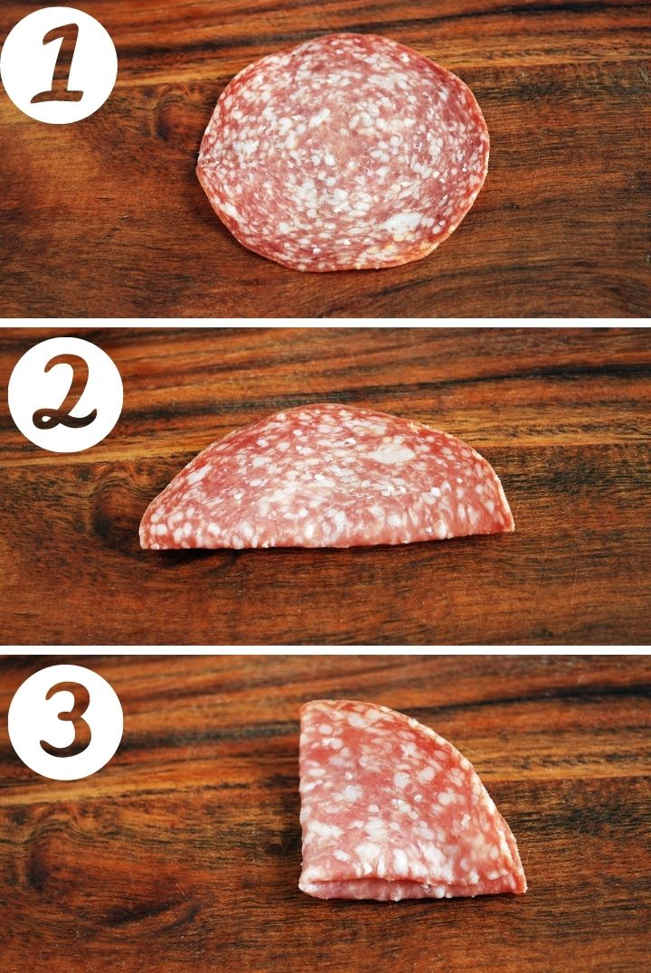 photo of steps to fold meat for charcuterie