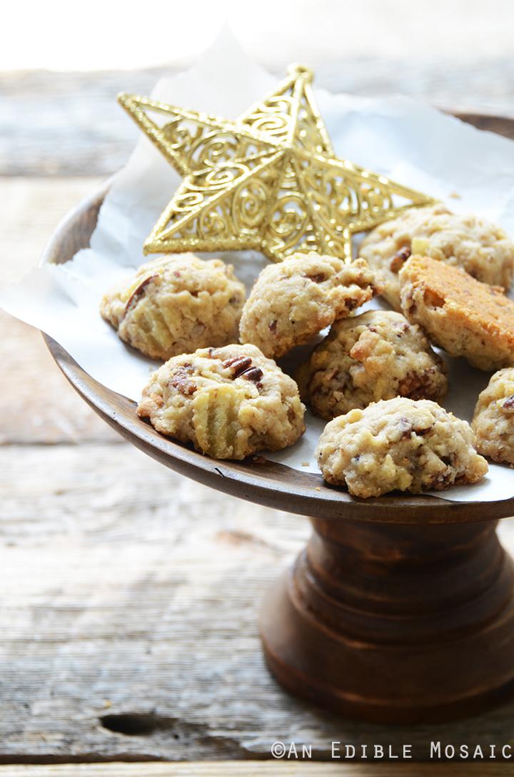 maple pecan shortbread cookies on a platter