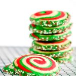 Peppermint pinwheel cookie stack from Crumbs and Corkscrews