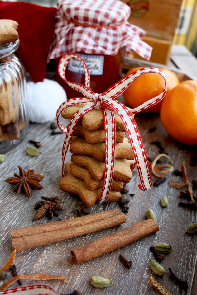 German Christmas cookies stacked and tied with a ribbon