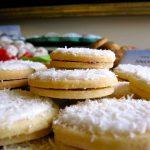 snow cookies on a plate
