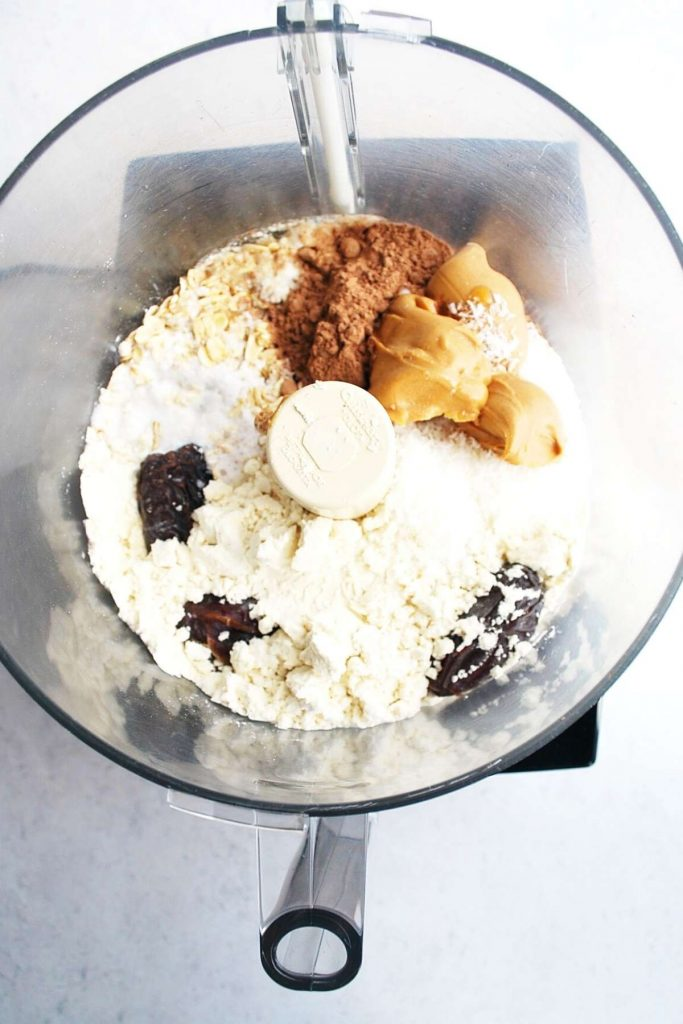 ingredients for protein date balls in a food processor