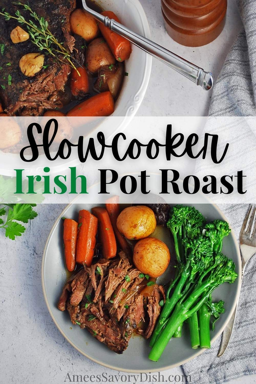 #Sponsored This flavorful Irish Pot Roast recipe made with Beef Shoulder Roast, vegetables, and stout beer cooks away in the slow cooker while you go about your day! @beeffordinner #BeefItsWhatsForDinner #NicelyDone #BeefFarmersandRanchers #StPatricksDay via @Ameessavorydish