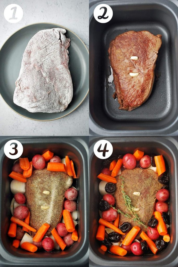 photos of the steps of preparing Irish pot roast. First, dredging the roast. Second, a seared roast stuffed with garlic in a slowcooker. Next, the vegetables added and last all ingredients in the slow cooker.